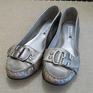 Silver Ballet Slipons with Buckle Detail
